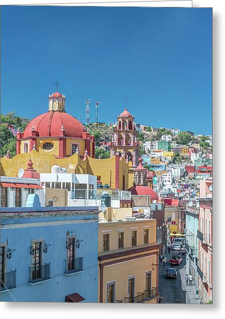 Mexico, Rooftop View Of Guanajuato Greeting Card