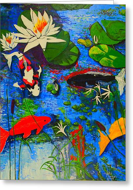 Greeting Card featuring the painting Miami Koi Collage by Angela Annas