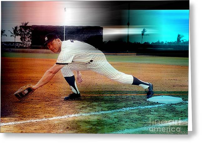 Mickey Mantle Greeting Card by Marvin Blaine
