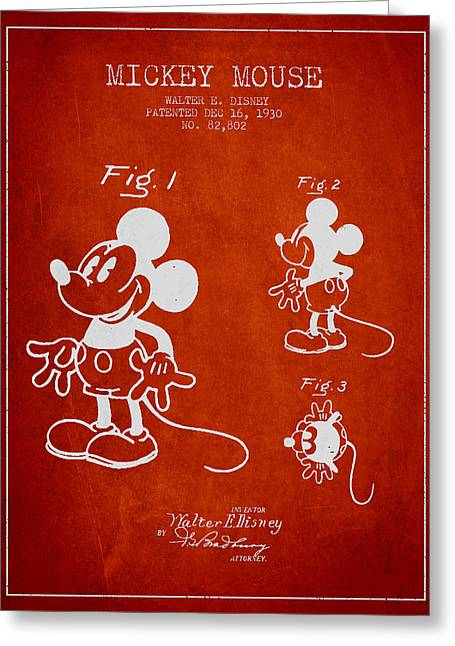 Mickey Mouse Patent Drawing From 1930 Greeting Card by Aged Pixel