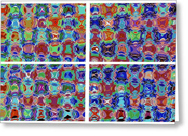 Micro Graphic Digital Spectrum  Characters Faces Eyes Cartoons Pebbles Crystals Legs Movement Chaoti Greeting Card