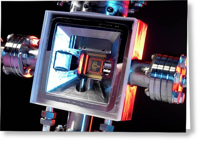 Microfabricated Ion Trap Greeting Card by Andrew Brookes, National Physical Laboratory/science Photo Library