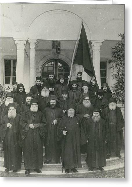 Militant Monks On Mount Athos Greeting Card by Retro Images Archive