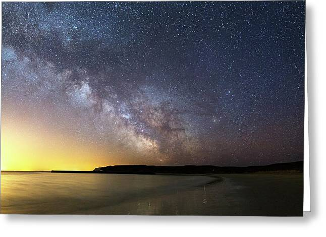 Milky Way Over The Coast Greeting Card by Laurent Laveder