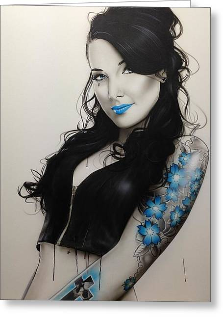 Portrait - ' Miss Metal ' Greeting Card by Christian Chapman Art