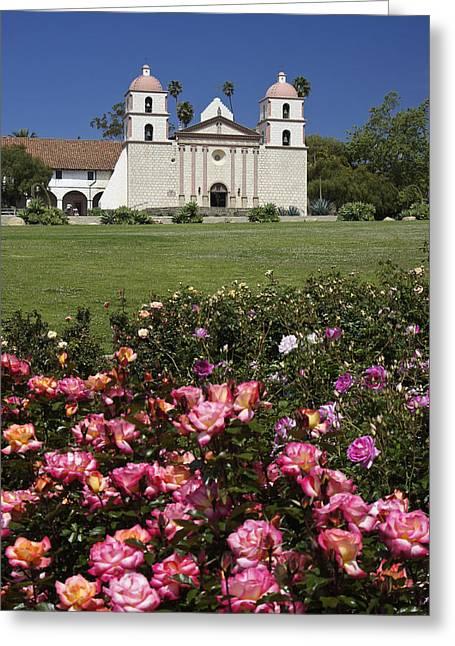 Mission Santa Barbara Greeting Card by Michele Burgess