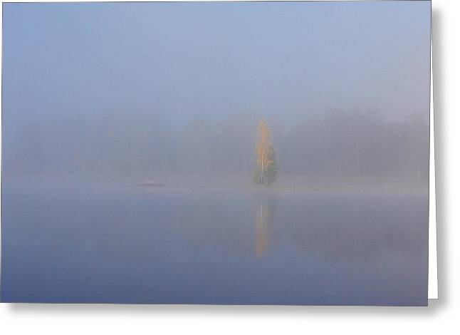 Misty Morning On A Lake Greeting Card
