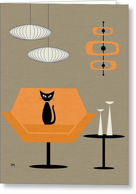 Greeting Card featuring the digital art Mod Chair In Orange by Donna Mibus