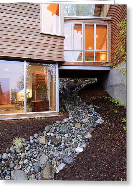 Modern House Over Rocky Creek Greeting Card