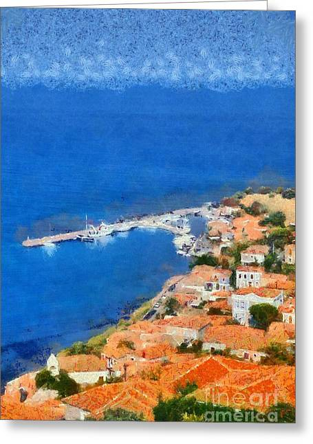 Molyvos Town Greeting Card by George Atsametakis