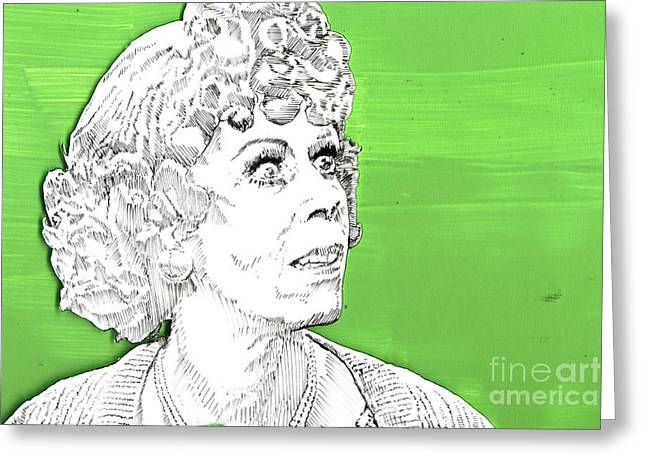 Greeting Card featuring the mixed media Momma On Green by Jason Tricktop Matthews