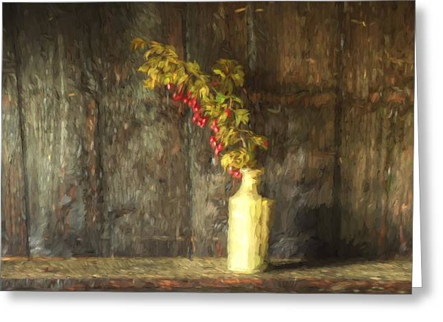 Monet Style Digital Painting Retro Style Still Life Of Dried Flowers In Vase Against Worn Woo Greeting Card