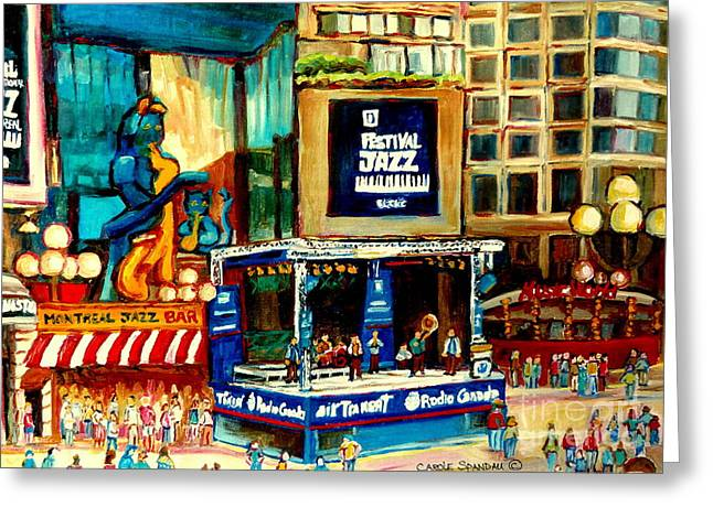 Montreal International Jazz Festival Greeting Card by Carole Spandau