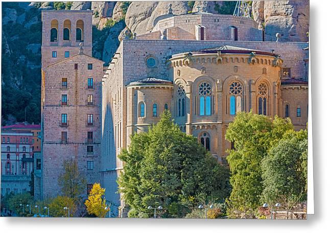 Montserrat Monastery Near Barcelona Spain Greeting Card