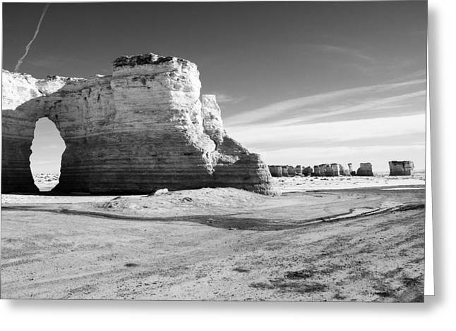 Monument Rocks Of Kansas In Black And White Greeting Card by Ellie Teramoto