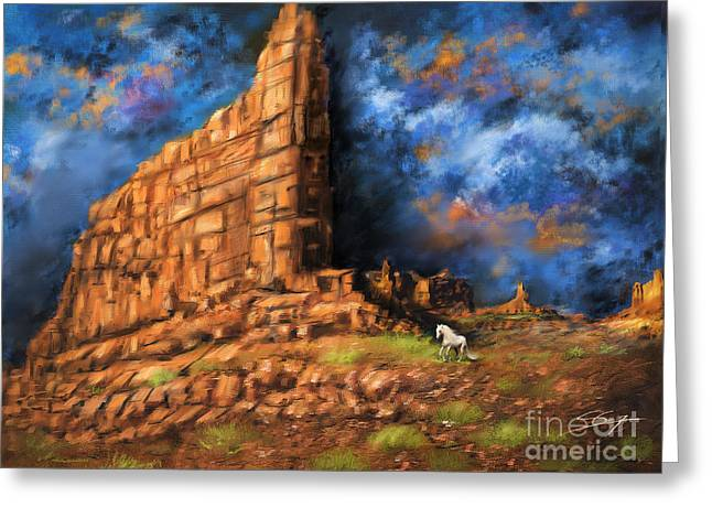 Greeting Card featuring the painting Monument Valley by S G