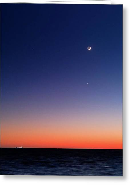 Moon And Venus At Sunrise Greeting Card by Luis Argerich