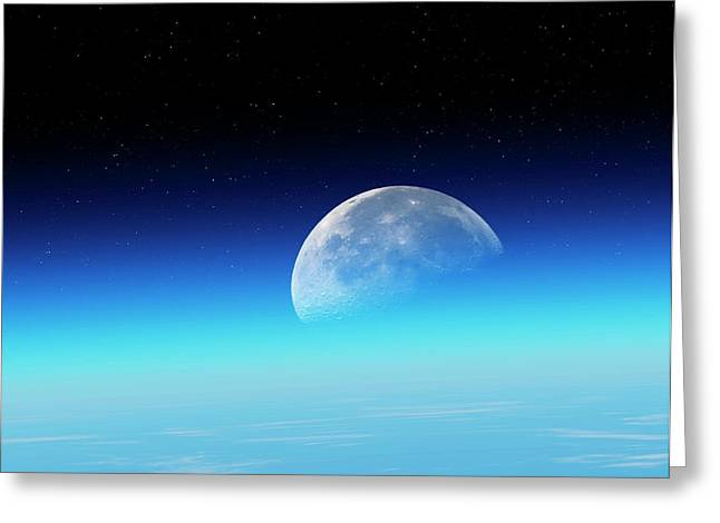 Moon Over The Earth Greeting Card