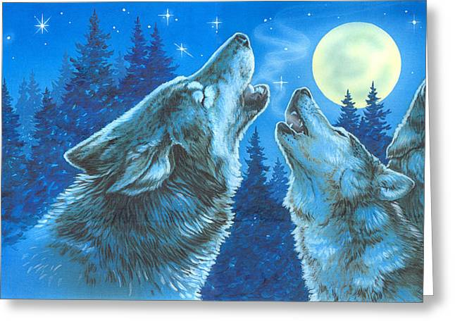 Moon Song Greeting Card by Richard De Wolfe