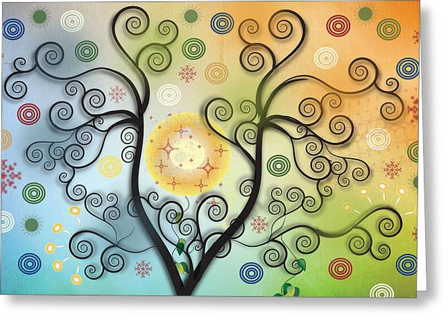 Greeting Card featuring the digital art Moon Swirl Tree by Kim Prowse