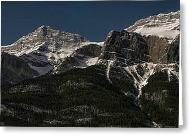 Moonlit Mountain And Stars, Mount Greeting Card