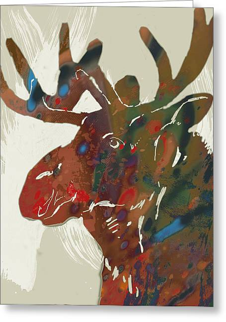 Moose - Wild Animal Stylised Pop Art Drawing Portrait Poster Greeting Card by Kim Wang