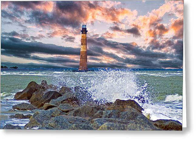 Morris Island Lighthouse Greeting Card by Bill Barber
