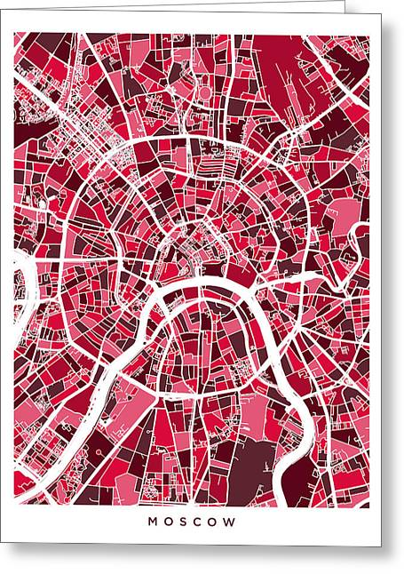 Moscow City Street Map Greeting Card