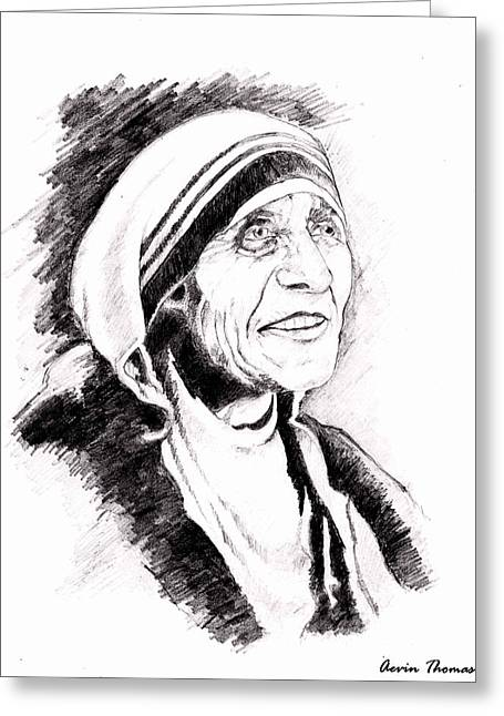 Mother Teresa Greeting Card by Aevin Thomas