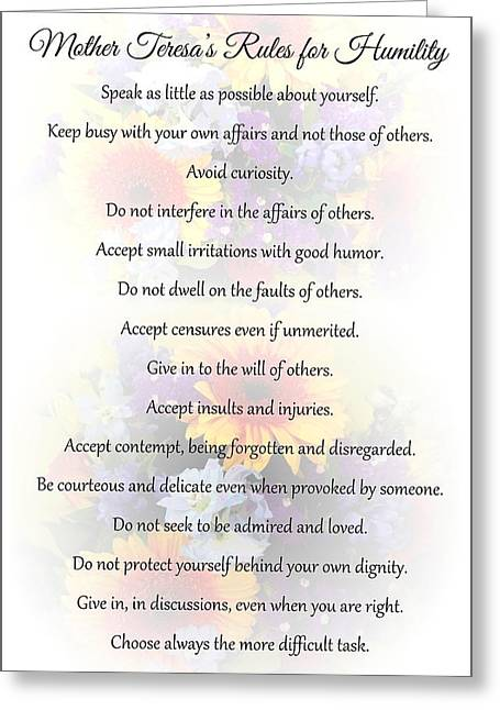 Mother Theresa's Rules For Humility Greeting Card