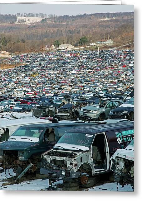 Motor Vehicles At A Scrapyard Greeting Card
