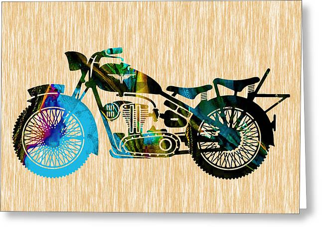 Motorcycle Painting Greeting Card by Marvin Blaine