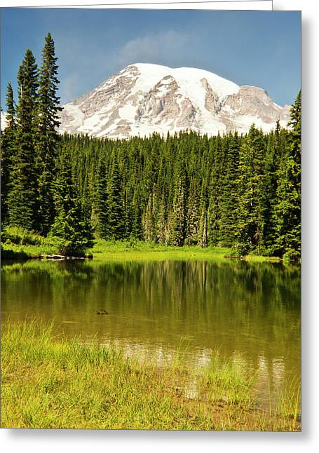 Mount Rainier, Reflection Lakes, Mount Greeting Card