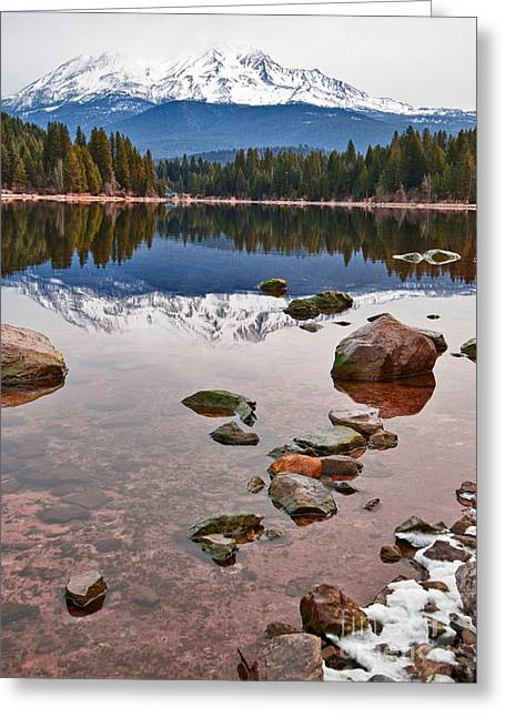 Mount Shasta Reflection -  Lake Siskiyou In California With Reflections. Greeting Card by Jamie Pham