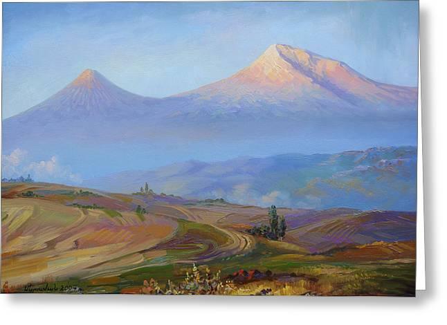 Mountain Ararat In The Early Morning Greeting Card by Meruzhan Khachatryan