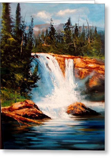 Mountain Falls Greeting Card by Robert Carver