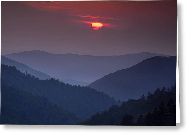 Mountain Sunset Greeting Card by Andrew Soundarajan