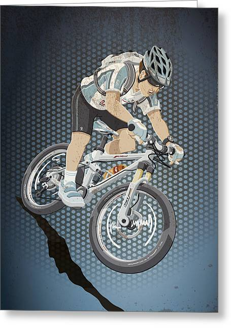 Mountainbike Sports Action Grunge Color Greeting Card by Frank Ramspott