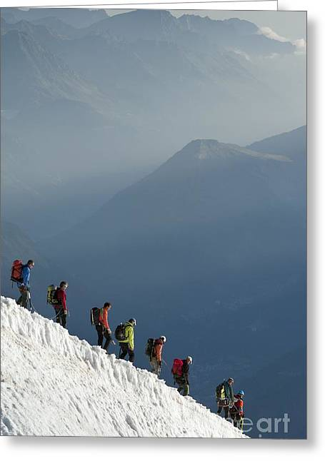 Mountaineering In The French Alps Greeting Card