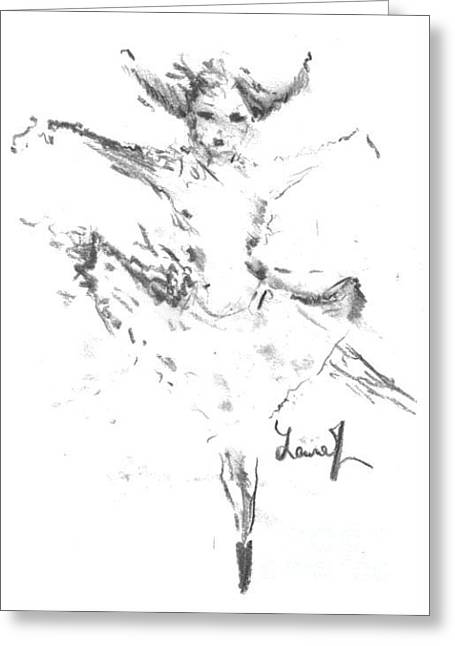 Greeting Card featuring the drawing Movement Of Dance by Laurie Lundquist
