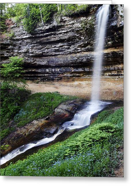 Munising Falls Greeting Card by Adam Romanowicz