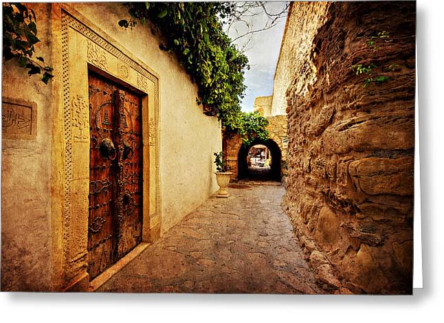 Narrow Street In Souk / Hammamet Greeting Card