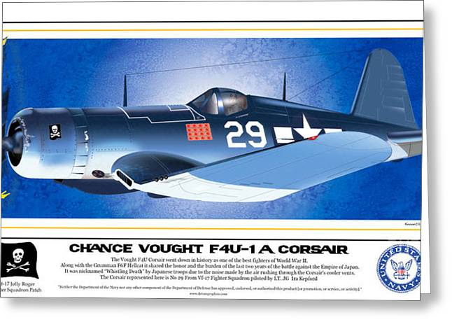 Greeting Card featuring the drawing Navy Corsair 29 by Kenneth De Tore