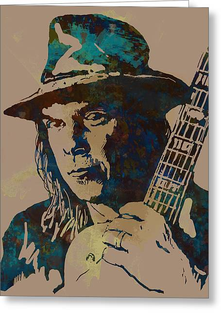 Neil Young Pop Artsketch Portrait Poster Greeting Card by Kim Wang