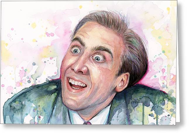 Nicolas Cage You Don't Say Watercolor Portrait Greeting Card by Olga Shvartsur