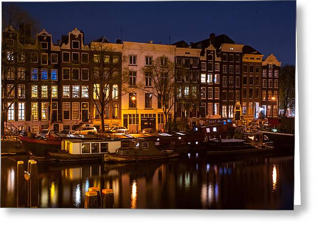 Night Lights On The Amsterdam Canals 7. Holland Greeting Card by Jenny Rainbow