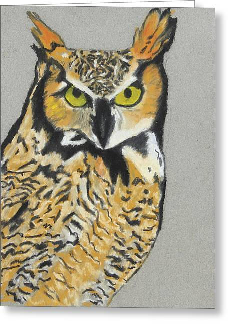 Greeting Card featuring the painting Night Owl by Jeanne Fischer