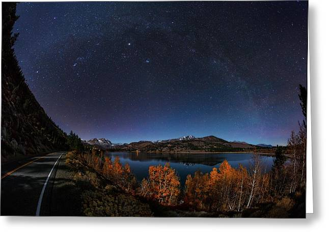 Night Sky Over June Lake Greeting Card