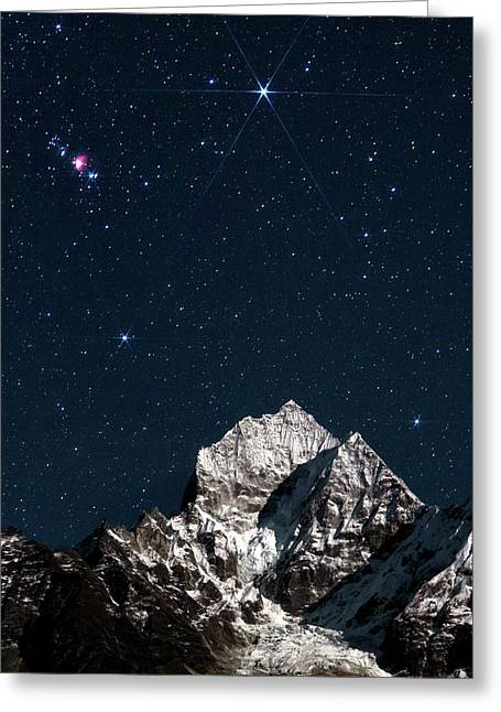 Night Sky Over The Himalayas Greeting Card