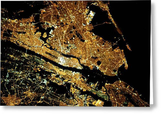 Night Time Satellite Image Of New York Greeting Card